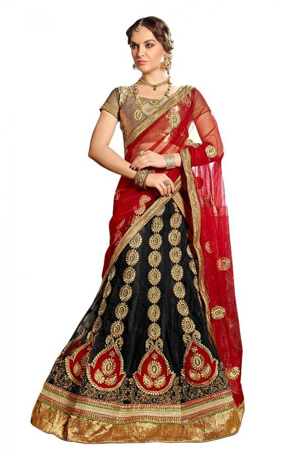56e46425b6 Buy Party Wear Embroidery Net Lehenga Choli in Black and Red Colour ...