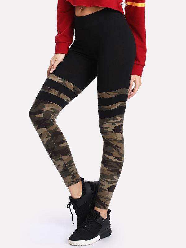 6b779538495771 Buy Camo Print Varsity Striped Leggings Online in India at cooliyo ...