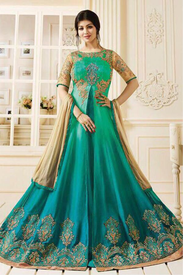 bf8e8d1435 Buy Ayesha Takia Georgette Anarkali Suit In Teal Blue Colour Online ...