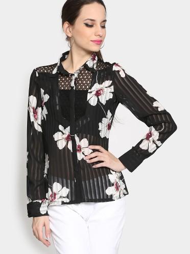 ca62032af859 Buy Women Black Floral Print Regular Fit Sheer Shirt Online in India ...