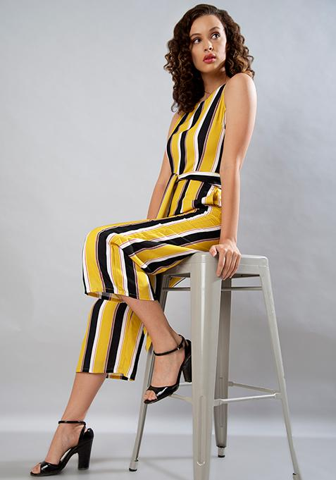c08950ddb0 Buy Yellow Striped Belted Jumpsuit Online in India at cooliyo ...