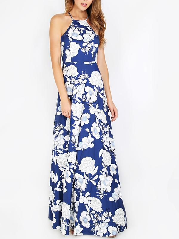 Buy SHEIN Halterneck Floral Print Maxi Dress