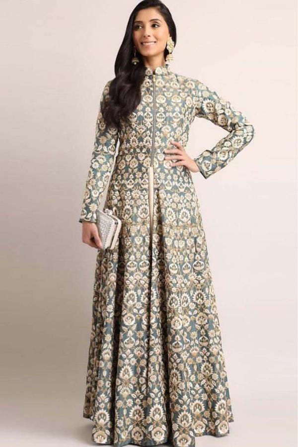 8fb54d65b2 Buy Taffeta Silk Anarkali Suit In Grey Colour Online in India at ...