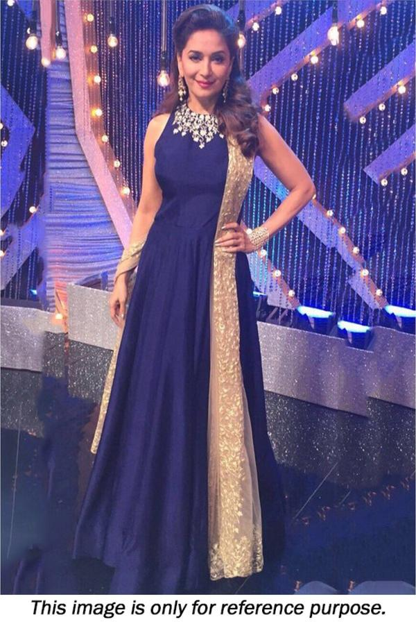 Buy Madhuri Dixitl Silk Gown In Navy Blue Colour Online In India At