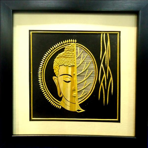 Buy The Buddha half Chakra & Banayan Leaf Face - Wall Art Online in ...