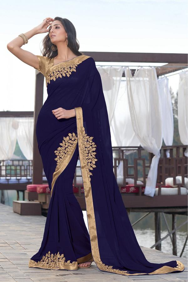 835f4eefbf Buy Laxmipati Georgette Party Wear Designer Saree in Blue Colour ...
