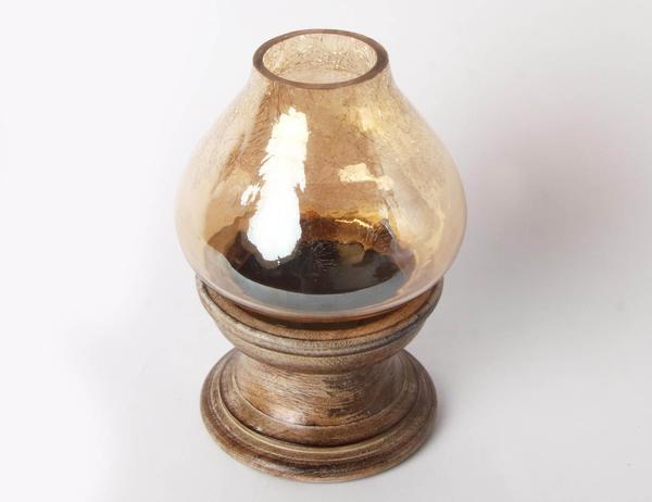 Crackle Glass Hurricane Lamp