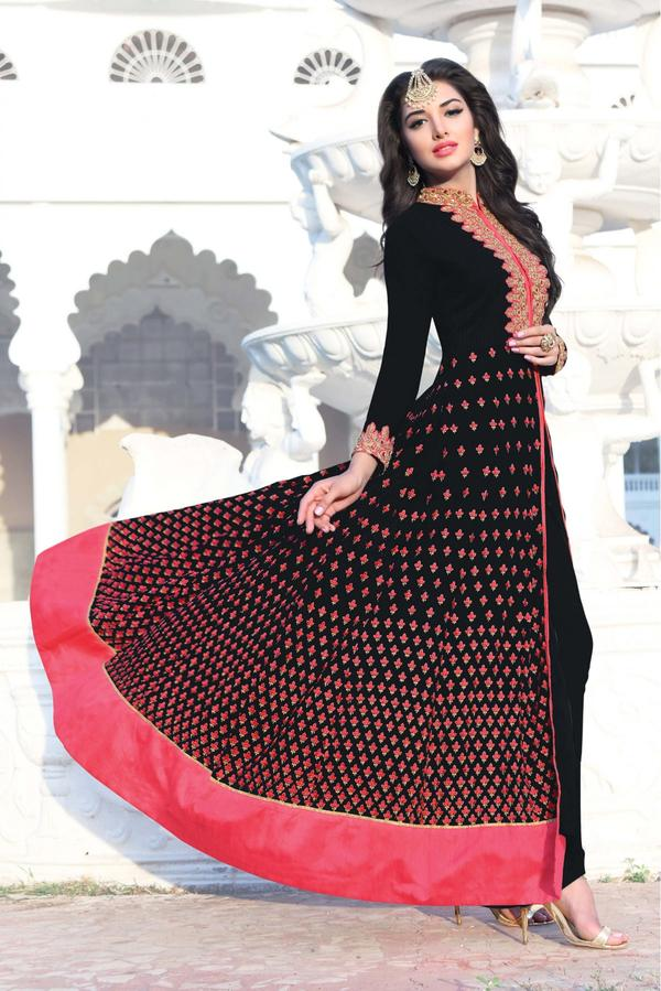 b6dc5e95fa Buy Georgatte Pant Style Suit In Black Colour Online in India at ...