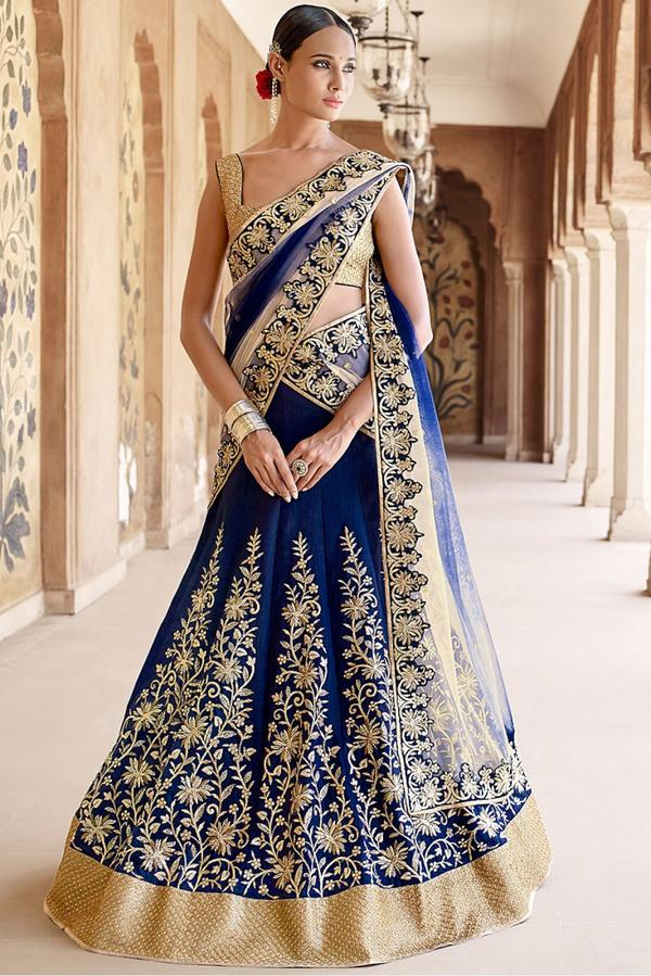 6c331d5ff1 Banglori Silk and Net Party Wear Lehenga Choli in Blue and Beige Colour  Image