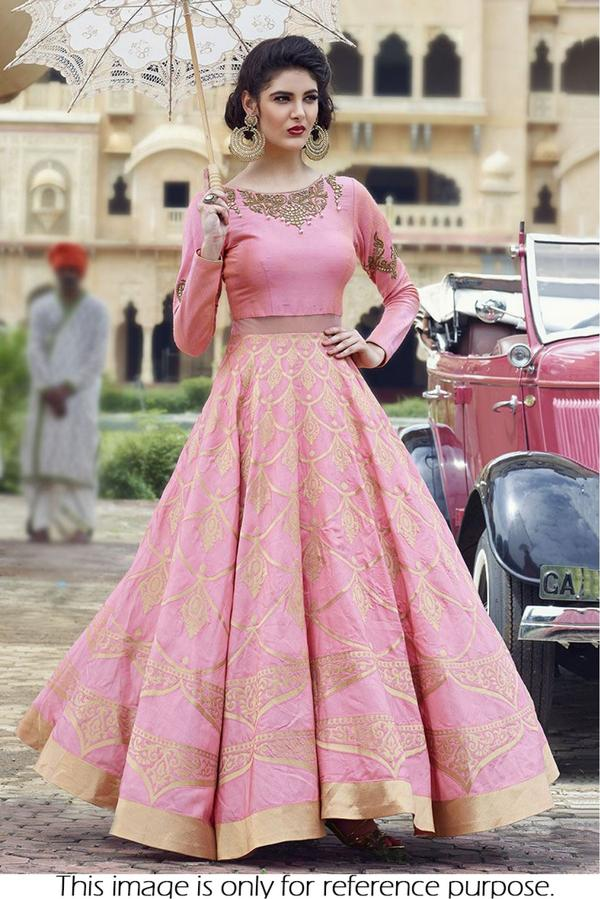 8f95eaab6de7bd Buy Raw Silk Party Wear Crop top lehenga In Pink Colour Online in ...