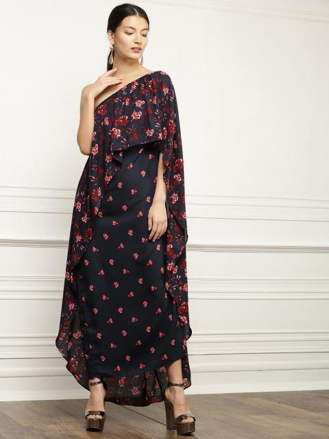a35d19953aab Buy Navy Blue Printed Off-Shoulder Maxi Dress Online in India at ...