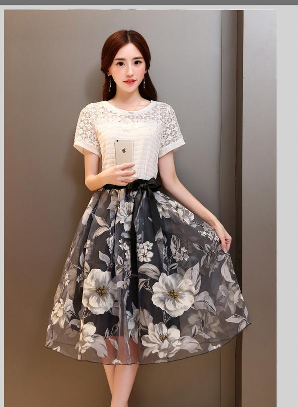 1246668a7b Buy Two Piece Dress Suit Korean Organza Skirt Online in India at ...