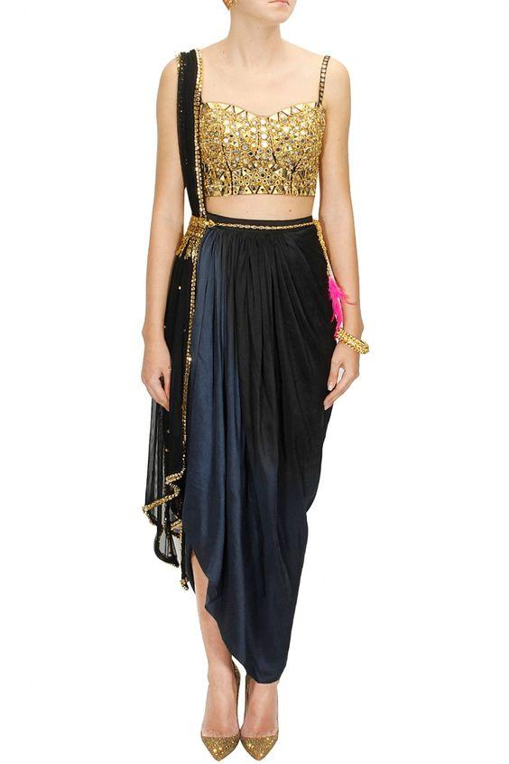 48e676783c496c Buy Black And Golden Color Dhoti Saree Online in India at cooliyo ...