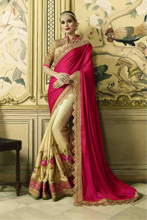 4651f33f2359cc Buy Satin And Crepe And Art Silk Saree In Pink And Cream Colour ...