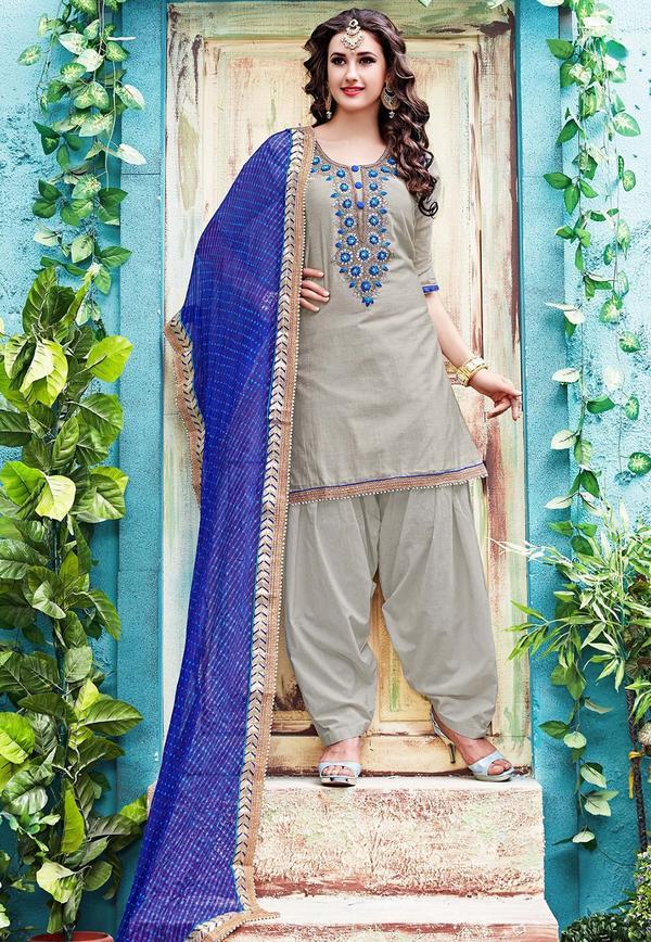 1a9a2fd6c0 Buy Gota Patti Embroidered Chanderi Silk Punjabi Suit in Grey Online ...