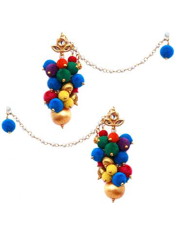 buy multicoloured pompom earrings online in india at cooliyo