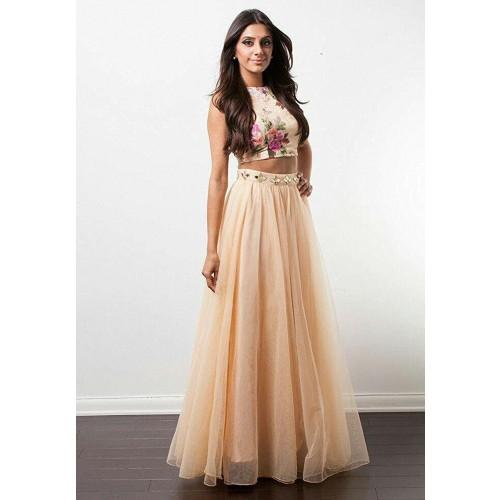 be36c816a Buy Kuldevi Fashion Poly Silk Cream Plain Semi Stitched Lehenga ...
