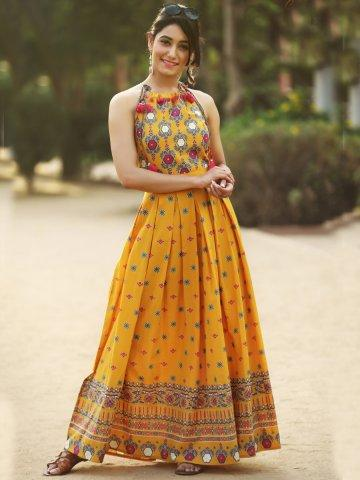 a512a90b68 Buy Aakara Yellow Cotton Printed Maxi Dress Online in India at ...