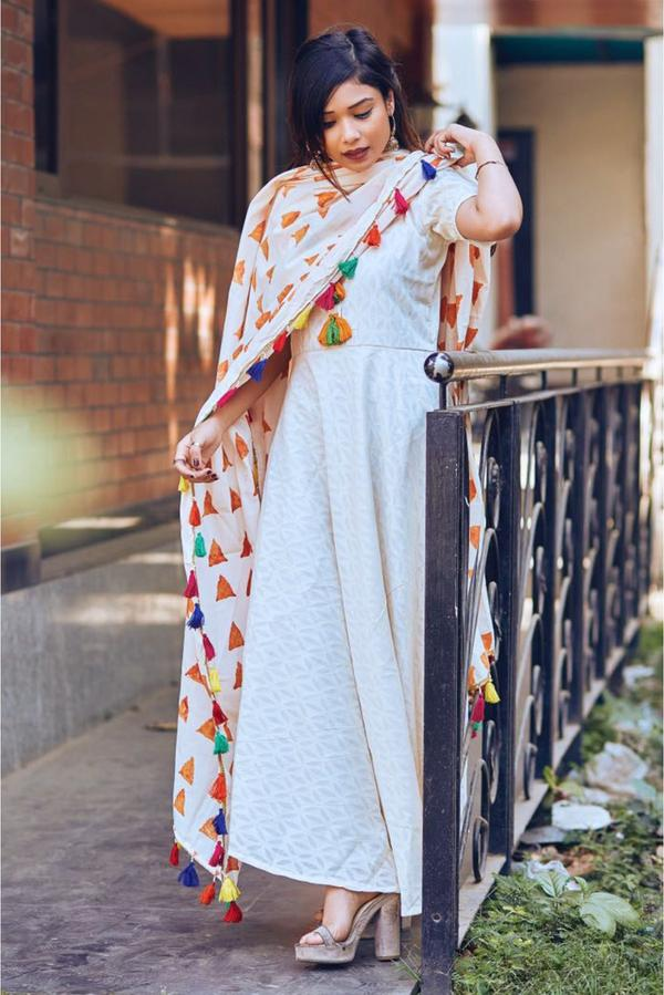 c7adbb7822 Buy Cotton Blend Party Wear Maxi Dress In White Colour Online in ...