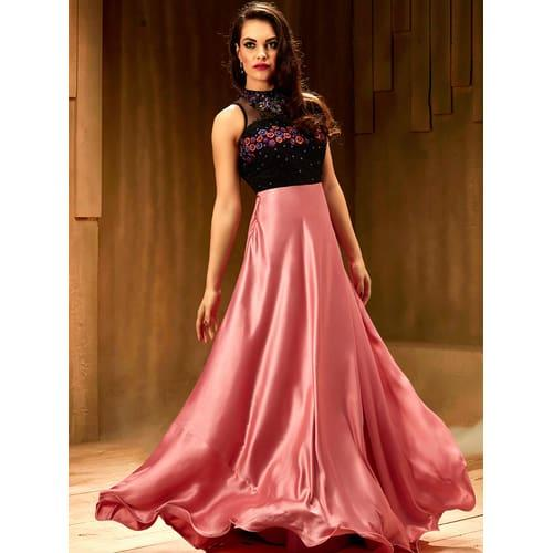 46596d25a69 Neck Rose Pink Color Satin Stitched Embroidered Designer Partywear Gown  Image