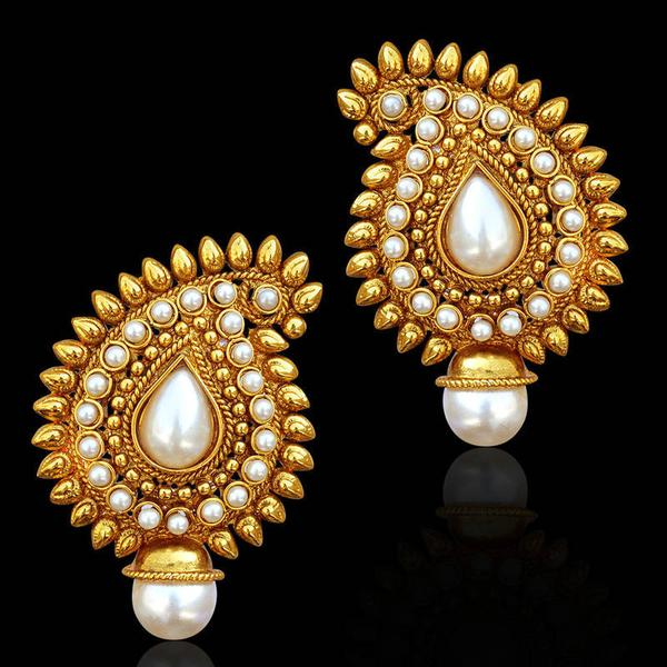 5098504d630 Traditional indian bollywood jewelry gold finish paisley stud earrings