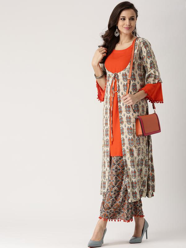 8aaa9543127 Buy Libas Women Beige   Orange Printed Kurta with Palazzos Online in ...