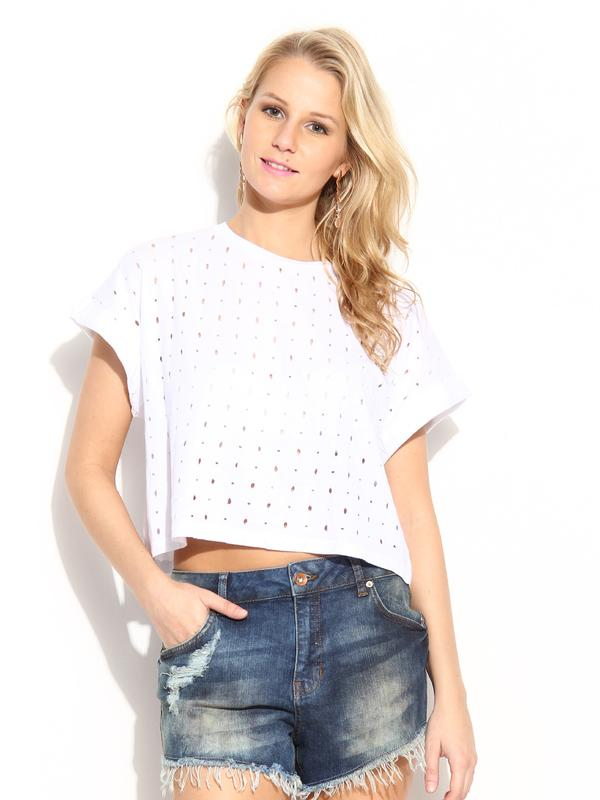 Buy MANGO Women White Ripped Crop Top Online in India at cooliyo ... f54b20092