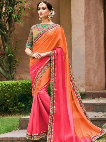 2c4e53388e6925 Buy Suvarna Orange & Pink Designer Heavy Work Saree Online in India ...