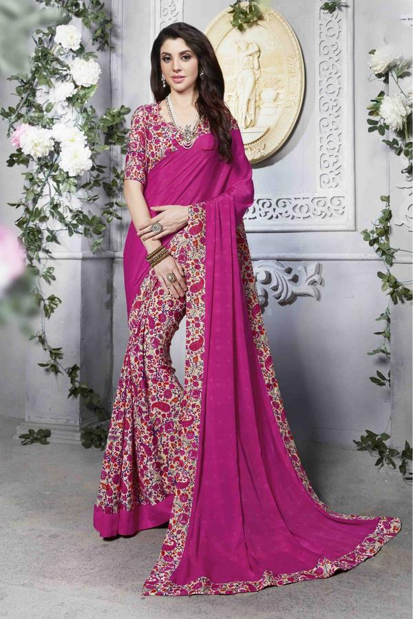 d30f81406395e6 Buy Crepe Silk Half N Half Saree In PInk Colour Online in India at ...