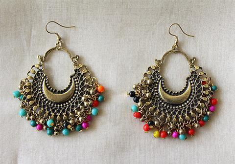 Buy Tribal Afghan Chandbali Earrings Design Online In India At
