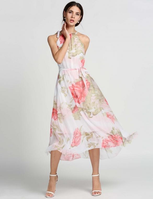 4168916d768 Buy Chiffon Sleeveless Flouncing Floral Long Sundress Online in ...