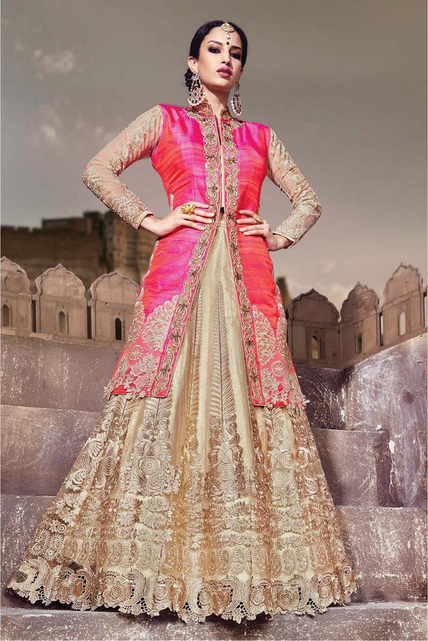 b0940af6ce Buy Net Designer Party Wear Lehenga Choli In Beige and Pink Colour ...