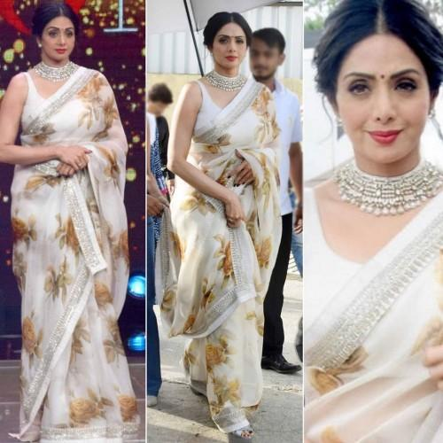 1675e209c4 Sridevi Georgette Off-White Floral Printed Bollywood Designer Saree - K881  Image