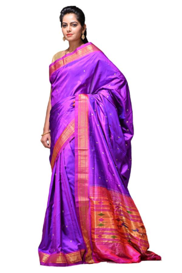 8bfa224ef55211 Buy Silk Party Wear Paithani Saree in Purple Colour Online in India ...