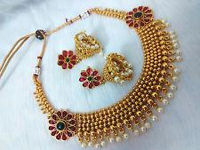 Temple jewellery necklace set with Jhumki earrings