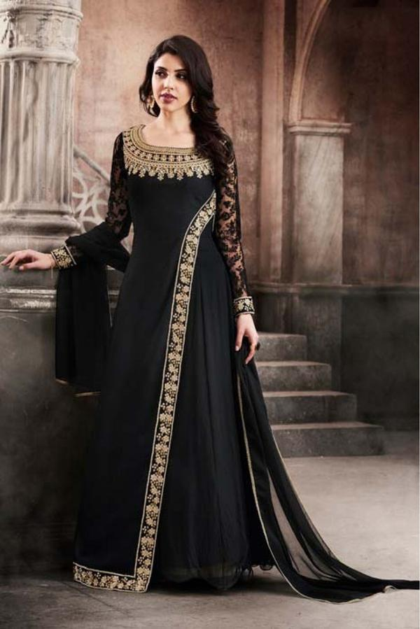 Buy Georgette Anarkali Suit In Black Colour Online In India At