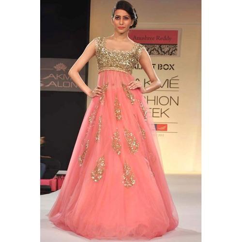 e10262851f2 Buy Orange Color Net Designer Fancy Gown Online in India at cooliyo ...