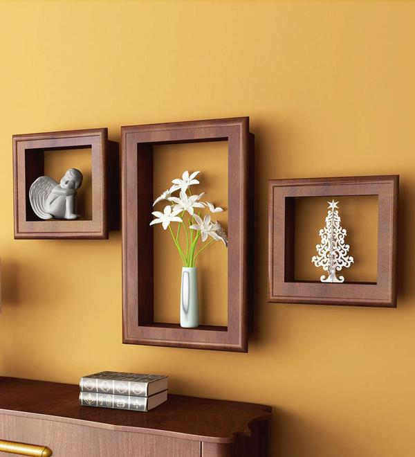 Home Sparkle Brown Set Of 3 Wall Shelves With Frames