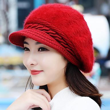 Autumn And Winter Girl Rabbit Hair Fashion Pure Color Berets Warm Knitted  Wool Baseball Cap Image edddc987175