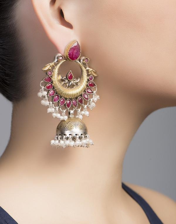 ff12e0dd3 Buy Silver Anusuya ES 2109 Ruby Jhumka Earrings Online in India at ...