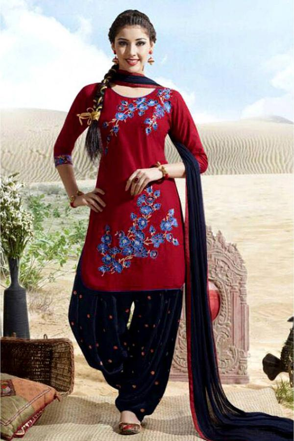 83a20d3429 Buy Cotton Patiala Suit In Red Colour Online in India at cooliyo ...