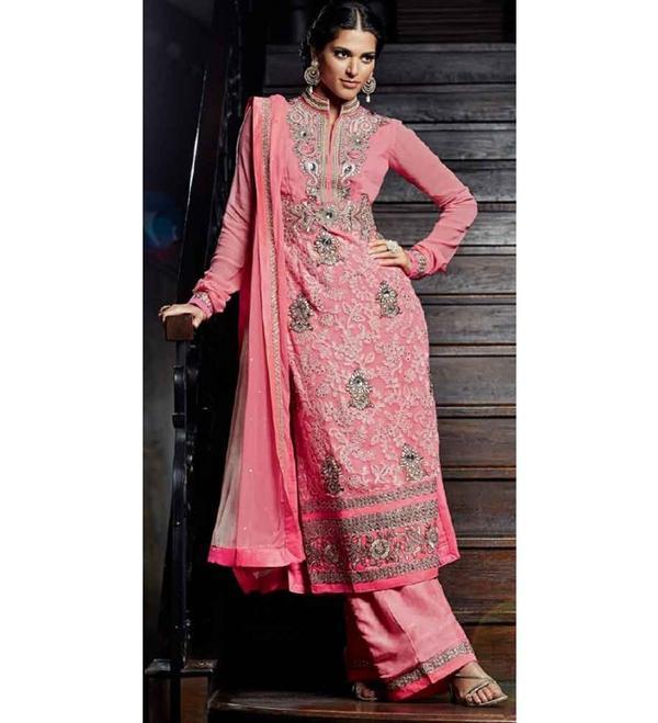 Light Pink Colour Pure Georgette Wedding Wear Zardosi & Aari Work Plazo  Suit (Kimora) 1111