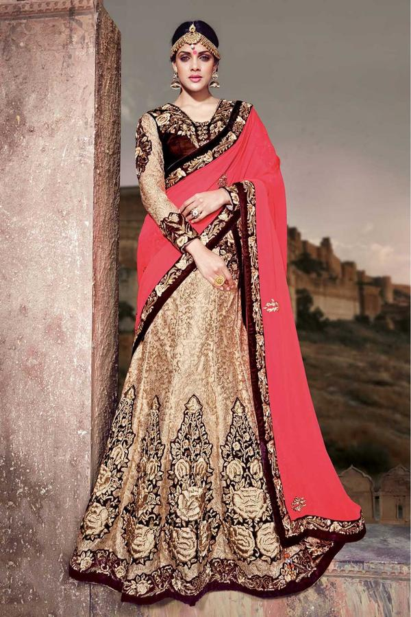 f3a581d749 Georgette Designer Party Wear Lehenga Saree In Pink and Beige Colour Image
