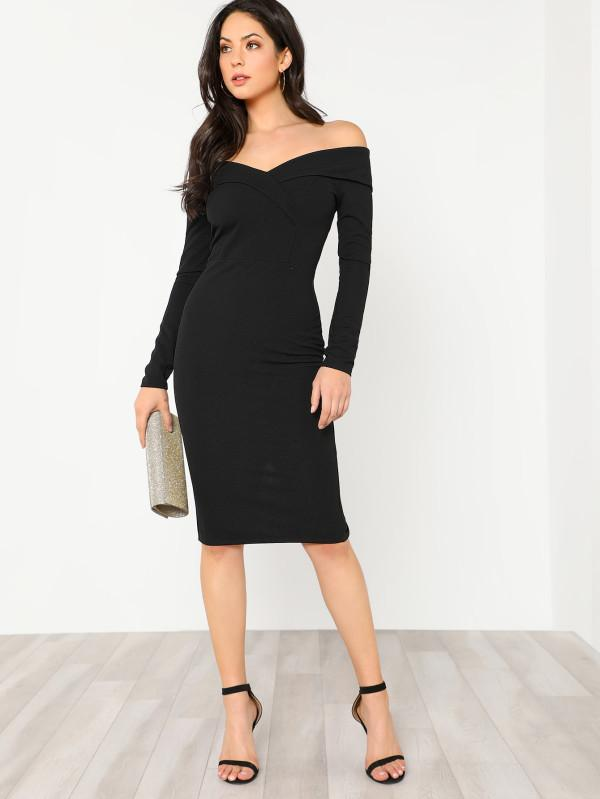 6a444cee7f Buy Foldover Off Shoulder Pencil Dress Online in India at cooliyo ...