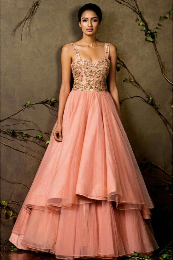 819838092c1 Buy Raw Silk Organza Gown In Baby Pink Colour Online in India at ...