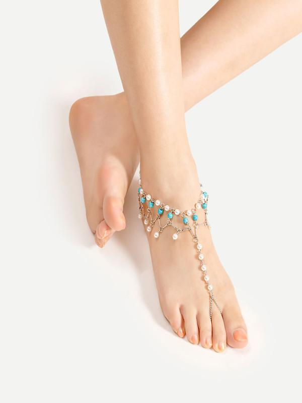 4938df957 Buy Faux Pearl Design Anklet With Toe Ring Online in India at ...