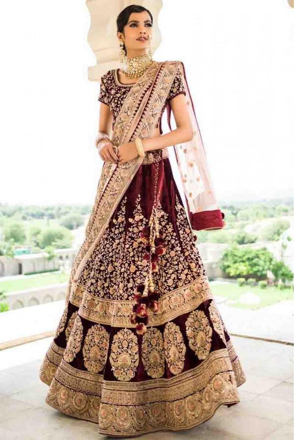 faab5ccf2a Buy Velvet Lehenga Choli In Maroon Colour Online in India at cooliyo ...