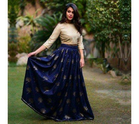 3949f379e4548c Taffeta Silk Embroidered Semi-Stitched Lehenga Choli Crop Top Material Image