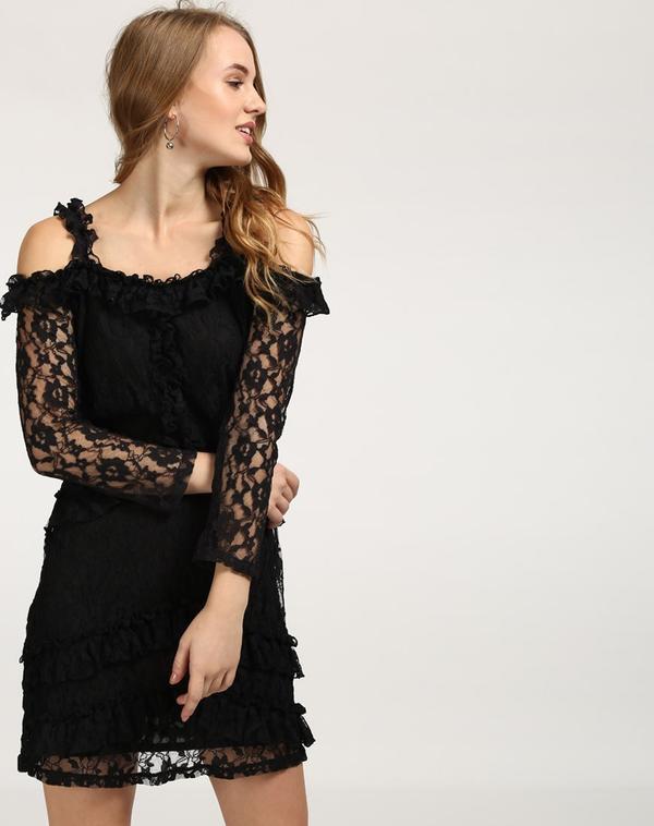 1d5c7fb230 Buy Black Vin Lace Cold Shoulder Dress Online in India at cooliyo ...