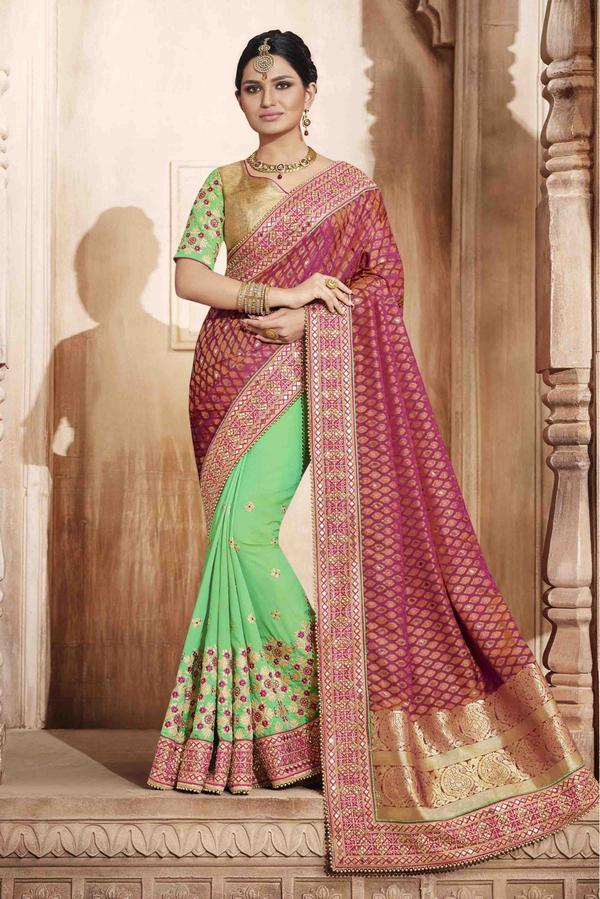 64770a3f0cc4f0 Jacquard And Art Silk Half N Half Saree In Magenta And Sea Green Colour  Image